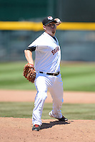 Erie Seawolves pitcher Will Startup #50 delivers a pitch during a game against the New Britain Rock Cats on June 20, 2013 at Jerry Uht Park in Erie, Pennsylvania.  New Britain defeated Erie 2-0.  (Mike Janes/Four Seam Images)