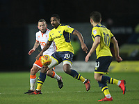 Blackpool's Jay Spearing battles with Oxford United's Jonathan Obika<br /> <br /> Photographer Mick Walker/CameraSport<br /> <br /> The EFL Sky Bet League One - Oxford United v Blackpool - Saturday 6th January 2018 - Kassam Stadium - Oxford<br /> <br /> World Copyright &copy; 2018 CameraSport. All rights reserved. 43 Linden Ave. Countesthorpe. Leicester. England. LE8 5PG - Tel: +44 (0) 116 277 4147 - admin@camerasport.com - www.camerasport.com