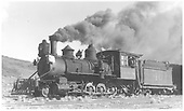 Fireman's-side 3/4 view of RGS 2-8-0 #40 underway with a freight on Dallas Divide.<br /> RGS  Dallas Divide (Peake), CO  Taken by Perry, Otto C. - 10/24/1940