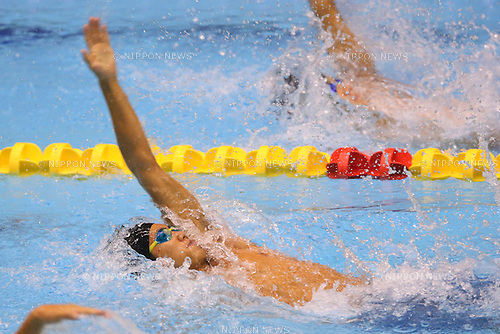Meguru Hotta (Keio), <br /> August 18, 2014 - Swimming :<br /> 2014 All-Japan Inter High School Championships,<br /> Men's 100m Backstroke <br /> at Chiba International General Swimming Center, Chiba, Japan. <br /> (Photo by Yohei Osada/AFLO SPORT)