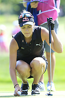 Lexi Thompson (USA) on the 6th green during Thursday's Round 1 of The Evian Championship 2018, held at the Evian Resort Golf Club, Evian-les-Bains, France. 13th September 2018.<br /> Picture: Eoin Clarke | Golffile<br /> <br /> <br /> All photos usage must carry mandatory copyright credit (© Golffile | Eoin Clarke)