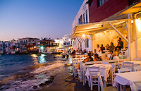 Night photo of beautiful Mykonos Greece and restaurant in famous area called Little Venice