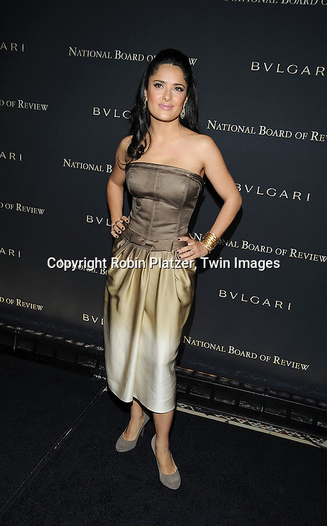 Salma Hayek in Yves Saint Laurent Dress..at The 2008 National Board of Review of Motion Pictures Awards Gala on January 14, 2009 at Cipriani's 42nd Street. The event was sponsored by Bulgari. ....Robin Platzer, Twin Images