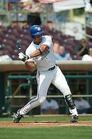 Jon Nelson of the Inland Empire 66ers bats during a 2004 season California League game at San Manuel Stadium in San Bernardino, California. (Larry Goren/Four Seam Images)