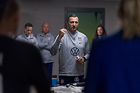 , FL - : Vlatko Andonovski of the United States talks to the team in the locker room during a game between  at  on ,  in , Florida.