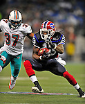 7 December 2008:  Buffalo Bills' wide receiver Steve Johnson in action against the Miami Dolphins in the first regular season NFL game ever to be played in Canada. The Dolphins defeated the Bills 16-3 at the Rogers Centre in Toronto, Ontario. ..Mandatory Photo Credit: Ed Wolfstein Photo