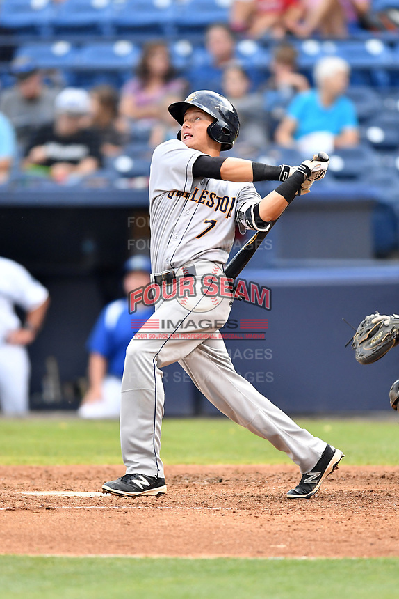 Charleston RiverDogs second baseman Diego Castillo (7) swings at a pitch during a game against the Asheville Tourists at McCormick Field on July 5, 2017 in Asheville, North Carolina. The RiverDogs defeated the Tourists 10-9. (Tony Farlow/Four Seam Images)