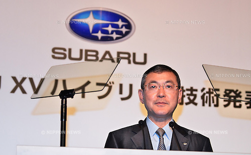 Yasuyuki Yoshida, SUBARU, April 18, 2013, Tokyo, Japan : Yasuyuki Yoshida, President and Chief Executive Officer of Fuji Heavy Industries Ltd., speaks during the press conference in Tokyo, Japan, on April 18, 2013. (Photo by Aflo)