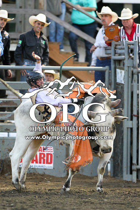 20 Aug 2014: Garrett Smith was not able to score while competing in the Seminole Hard Rock Extreme Bulls competition at the Kitsap County Stampede in Bremerton, Washington.