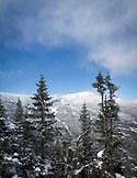 Vermont, Stowe Mountain, Mt. Mansfield with Slopes in Winter