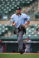 Umpire Emil Jimenez during the first game of a doubleheader between the GCL Rays and GCL Orioles on August 1, 2015 at the Ed Smith Stadium in Sarasota, Florida.  GCL Orioles defeated the GCL Rays 2-0.  (Mike Janes/Four Seam Images)