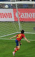 01.07.2012 Kiev, Ukraine.  Spain's David Silva scores the opening goal for 1-0 during the UEFA EURO 2012 final soccer match Spain vs. Italy at the Olympic Stadium in Kiev, Ukraine, 01 July 2012.