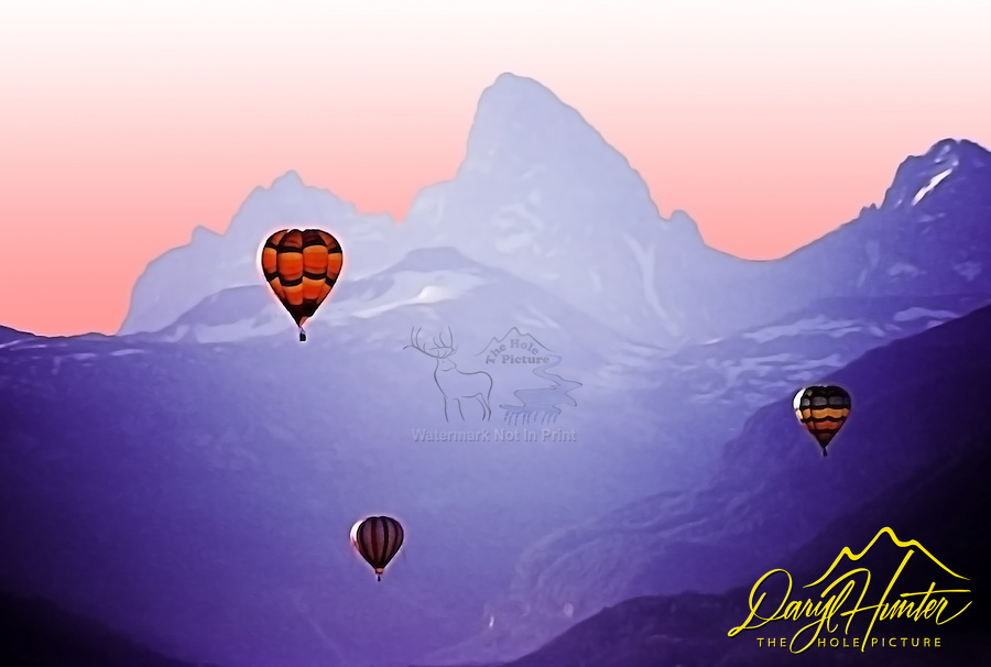 Artistic rendition of Hot air balloon races, Grand Tetons, Teton Valley Idaho based from photograph