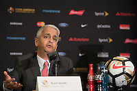 New York, NY - Friday June 24, 2016: Copa America Local Organizing Committee chairman and U.S. Soccer President Sunil Gulati during a press conference prior to the final of the Copa America Centenario at The Westin New York at Times Square.<br /> <br /> Photo during American Cup USA 2016 Press Conference The Westin New York at Times Square. --- Foto durante la Conferencia de Prensa previo a la Gran Final de la Copa America Centenario USA 2016, enla foto: Sunil Gulati<br /> <br /> ---24/06/2016/MEXSPORT/ Omar Martinez.