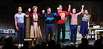 "Michael Hsu Rosen, Mercedes Ruehl, Michael Urie, Ward Horton, Jack DiFalco and Roxanna Hope Radja  during the Broadway Opening Night Curtain Call for ""Torch Song"" at the Hayes Theater on November 1, 2018 in New York City."
