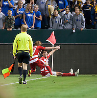 CARSON, CA – NOVEMBER 14: FC Dallas midfielder Dax McCarty (13) and defender George John (14) during the Western Conference Final soccer match at the Home Depot Center, November 14, 2010 in Carson, California. Final score LA Galaxy 0, Dallas FC 3.
