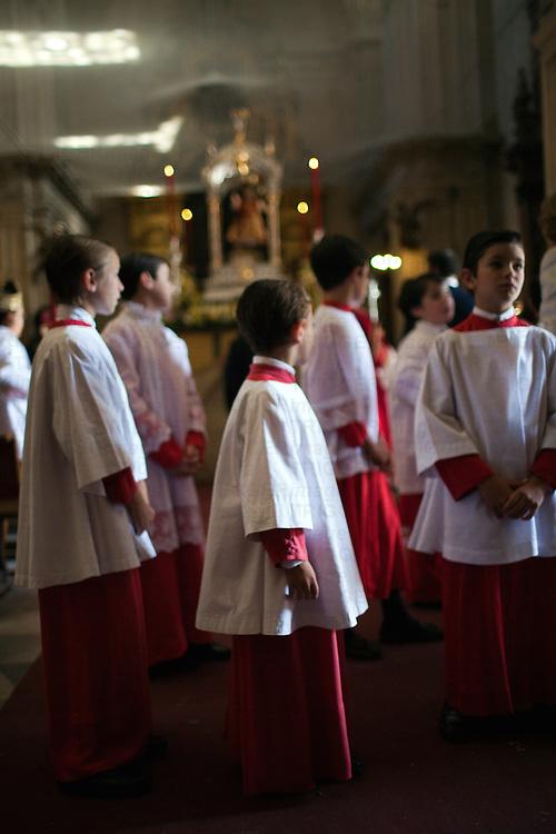Altar boys, Sagrario church, Corpus Christi procession, Seville, Spain, 2009.