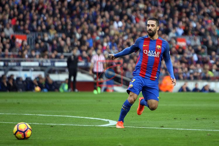League Santander 2016/2017. Game: 21.<br /> FC Barcelona vs Athletic Club: 3-0.<br /> Arda Turan.