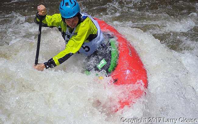 June 9, 2017 - Vail, Colorado, U.S. - C-1 paddler, Tad Dennis, sets up for a maneuver in the Freestyle Kayak competition during the GoPro Mountain Games, Vail, Colorado.  Adventure athletes from around the world meet in Vail, Colorado, June 8-11, for America's largest celebration of mountain sports, music, and lifestyle.