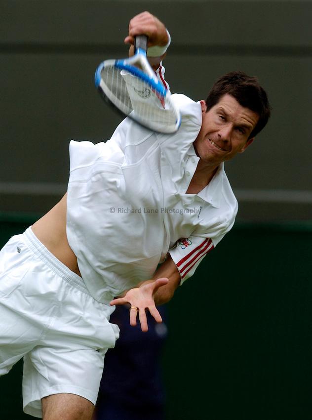 Photo: Richard Lane..Wimbledon Championships. 27/06/2006. .Great Britain's Tim Henman serves.