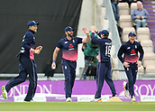 29th September 2017, Ageas Bowl, Southampton, England; One Day International Series, England versus West Indies; Liam Plunkett of England celebrates catching West Indies Chris Gayle with Captain Eoin Morgan