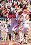 Clemson's Christina Wilkins (42) celebrates his touchdown in the first half of an NCAA college football game against Florida State in Tallahassee, Fla., Saturday, Oct.27, 2018. (AP Photo/Mark Wallheiser)