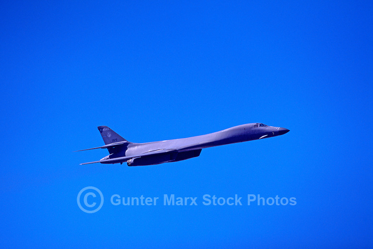 "US Air Force Rockwell (Boeing) B-1B Lancer Bomber (aka the ""Bone"") Military Aircraft in Flight - at Abbotsford International Airshow, BC, British Columbia, Canada"