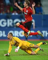 FUSSBALL   1. BUNDESLIGA  SAISON 2012/2013   5. Spieltag FC Augsburg - Bayer 04 Leverkusen           26.09.2012 Torwart Mohamed Amsif (li, FC Augsburg) gegen Stefan Kiessling (Bayer 04 Leverkusen)