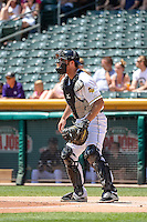 Charlie Cutler (37) of the Salt Lake Bees on defense against the Fresno Grizzlies in Pacific Coast League action at Smith's Ballpark on June 14, 2015 in Salt Lake City, Utah.  (Stephen Smith/Four Seam Images)
