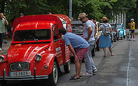 Members of the Greater New York Citorën and Velosolex Touring Club bring out their lovingly restored Citroën automobiles for their Bastille Day Rendez-Vous, seen on Riverside Drive in New York on Sunday, July 14, 2013. The parade of over a dozen Citroëns, including 2CV, DB series models, a truck and a traction avant started on Riverside Drive and traveled through the streets of Manhattan. The owners are dedicated to restoring and caring for their vehicles and share tips and information on repairing and restoring them. (© Richard B. Levine)