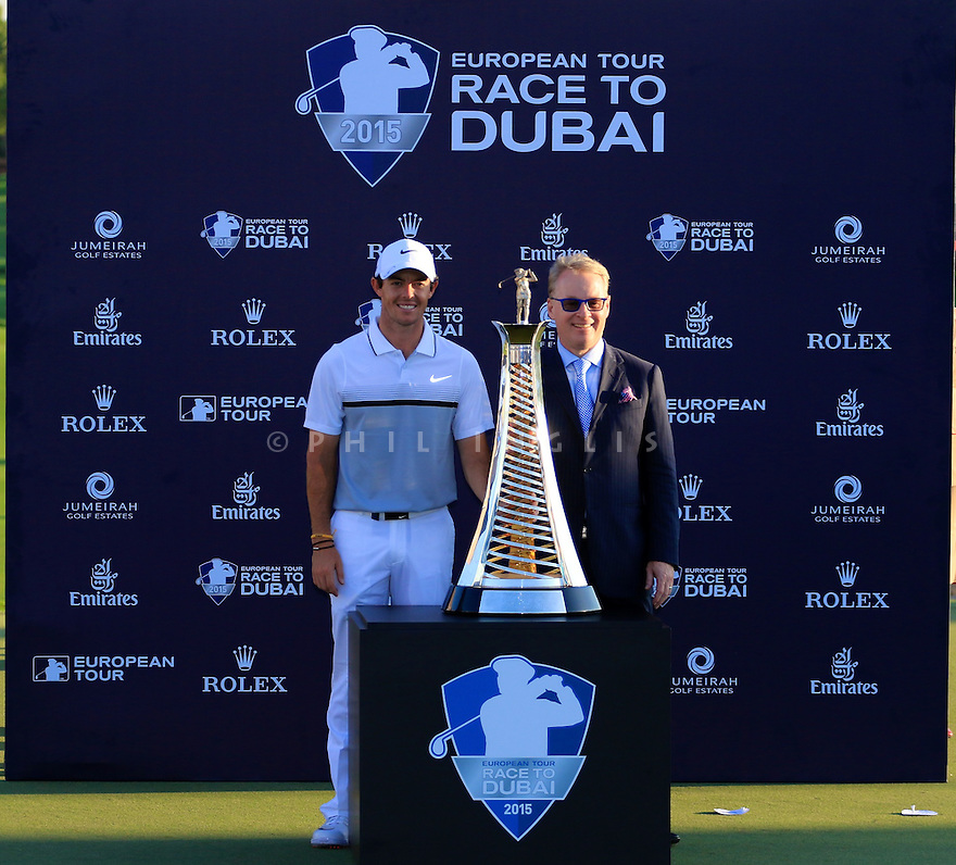 Rory McIlroy (IRE) at the presentation with Keith Pelley, CEO European Tour during the final round of the DP World Golf Championship played at the Earth Course, Jumeira Golf Estates, Dubai 19-22 November 2015. (Picture Credit / Phil Inglis )