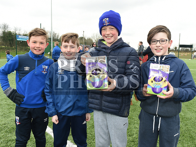 Eoin Johnston, Michael Harding, Sammy Roche and Evan McDonnell at the East Meath United Easter Egg Hunt. Photo:Colin Bell/pressphotos.ie
