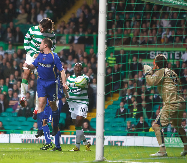 Georgios Samaras heads straight down into the arms of goalie Cameron Bell