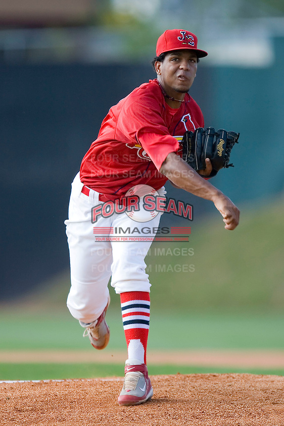 Starting pitcher Randy Santos #50 of the Johnson City Cardinals in action versus the Burlington Royals at Howard Johnson Stadium June 27, 2009 in Johnson City, Tennessee. (Photo by Brian Westerholt / Four Seam Images)