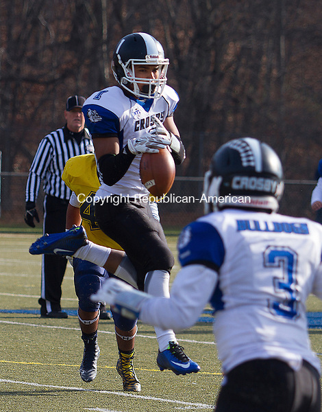 WATERURY, CT - 26 NOVEMBER 2015 -112615JW02.jpg -- Crosby #1 Aaron Hills pulls down a pass against Kennedy during the Thanksgiving Day 2015 Brass Division and City Championship game at Ray Snyder Sr. Field Thursday morning. Crosby won 18-15.  Jonathan Wilcox Republican-American