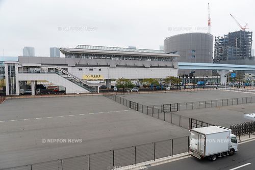 A general view of Shijo-mae Station from the new Tokyo Metropolitan Central Wholesale Market which opened in Toyosu on October 11, 2018, Tokyo, Japan. The new fish market replaces the famous Tsukiji Fish Market which closed for the last time on Saturday 6th October. The move to Toyosu was delayed for almost 2 years because of fears over toxins found in water below the new market. (Photo by Rodrigo Reyes Marin/AFLO)