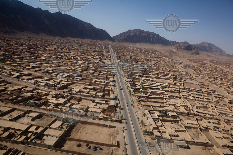 An aerial view of the city of Kandahar.