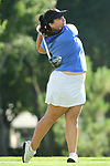HOUSTON, TX - MAY 19: Paloma Vaccaro of the University of West Florida tees off during the Division II Women's Golf Championship held at Bay Oaks Country Club on May 19, 2018 in Houston, Texas. Vaccaro tied for second place with a one over par score of 289. (Photo by Justin Tafoya/NCAA Photos via Getty Images)