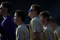 Chase Walter (32) of the Western Carolina Catamounts stands for the National Anthem prior to the game against the Saint Joseph's Hawks at TicketReturn.com Field at Pelicans Ballpark on February 23, 2020 in Myrtle Beach, South Carolina. The Hawks defeated the Catamounts 9-2. (Brian Westerholt/Four Seam Images)
