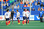 The Hague, Netherlands, June 01: Discussions on the field between the players and the umpire during the field hockey group match (Men - Group B) between the Black Sticks of New Zealand and Korea on June 1, 2014 during the World Cup 2014 at GreenFields Stadium in The Hague, Netherlands. Final score 2:1 (1:0) (Photo by Dirk Markgraf / www.265-images.com) *** Local caption ***