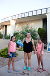 Patricia Tomasini with her great granddaughters Selena Sanchez (in shorts), 9, and her sister Jazmine, 11. The pools at Sun City allow certain times for visiting grandchildren to swim...2010 marks the 50th anniversary of the United States' first planned retirement city. When Del Webb created Sun City and it opened in 1960, it was a revolutionary idea for retirees to move away from home and to live extremely active and social lifestyles..