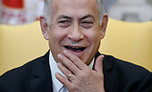 Prime Minister Benjamin Netanyahu of Israel speaks  in the Oval Office of the White House in Washington, DC, March 5, 2018.  <br /> Credit: Olivier Douliery / Pool via CNP