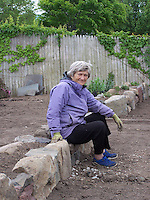 Joan Gussow in her newly rebuilt garden, Piermont, NY