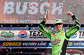 #18: Kyle Busch, Joe Gibbs Racing, Toyota Camry Interstate Batteries celebrates in victory lane