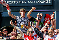 St Helens supporters get into the mood before the match<br /> <br /> Photographer Alex Dodd/CameraSport<br /> <br /> Betfred Super League Round 15 - Magic Weekend - Saturday 19th May 2018 - St James' Park - Newcastle<br /> <br /> World Copyright &copy; 2018 CameraSport. All rights reserved. 43 Linden Ave. Countesthorpe. Leicester. England. LE8 5PG - Tel: +44 (0) 116 277 4147 - admin@camerasport.com - www.camerasport.com