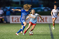 Boston, MA - Friday July 07, 2017: Allysha Chapman and Alyssa Mautz during a regular season National Women's Soccer League (NWSL) match between the Boston Breakers and the Chicago Red Stars at Jordan Field.