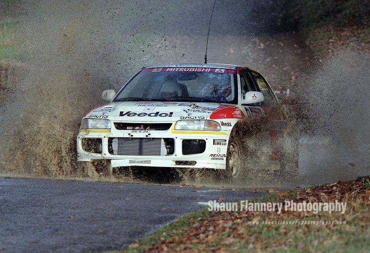Pix: Shaun Flannery/shaunflanneryphotography.com...COPYRIGHT PICTURE>>SHAUN FLANNERY>01302-570814>>07778315553>>..1995 Network Q RAC Rally..19th November - 22nd November 1995..Isolde Holderied and Christina Thorner..Mitsubishi Lancer Evo III.Mitsubishi Ralliart Germany