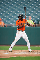 Bowie Baysox center fielder Anderson Feliz (20) at bat during the first game of a doubleheader against the Trenton Thunder on June 13, 2018 at Prince George's Stadium in Bowie, Maryland.  Trenton defeated Bowie 4-3.  (Mike Janes/Four Seam Images)