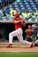 Clearwater Threshers first baseman Damek Tomscha (21) follows through on a swing during the first game of a doubleheader against the Lakeland Flying Tigers on June 14, 2017 at Spectrum Field in Clearwater, Florida.  Lakeland defeated Clearwater 5-1.  (Mike Janes/Four Seam Images)