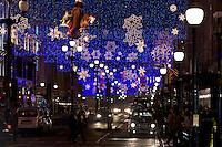 Christmas decorations and traffic in Regent Street, London, United Kingdom